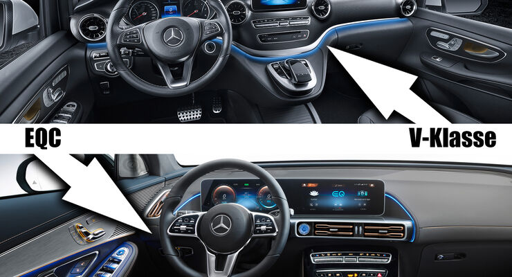 Mercedes EQC V-Klasse EQV Cockpit Vergleich