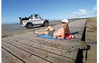Mercedes G 500 Cabrio, Seitenansicht, Strand