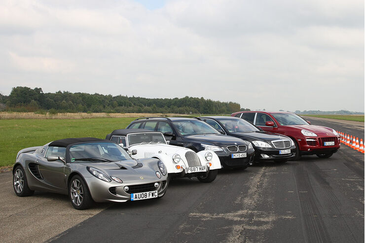 Mercedes S 600 L, BMW M5 Touring, Lotus Elise SC, Morgan Roadster V6, Porsche Cayenne Turbo S