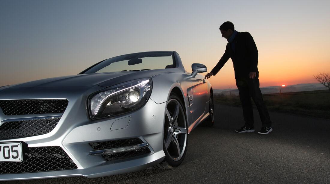 Mercedes SL 350, Seitenlinie, Abendlicht