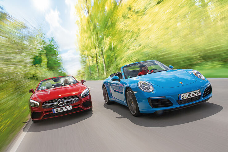 Mercedes SL 400, Porsche 911 Carrera Cabriolet, Frontansicht