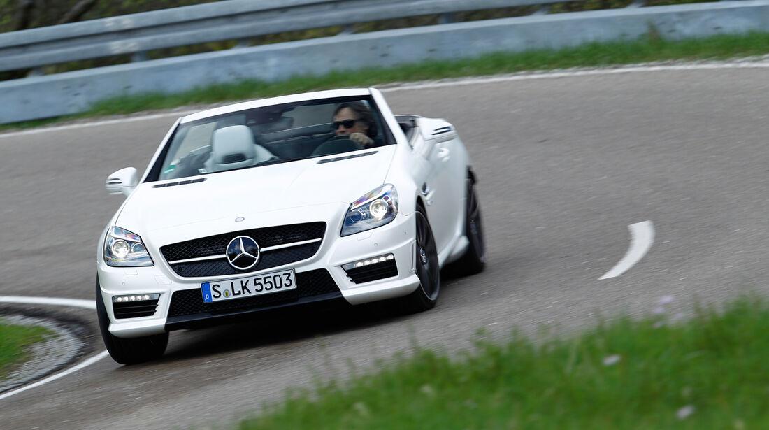 Mercedes SLK 55 AMG, Frontansicht, Kurvenfahrt
