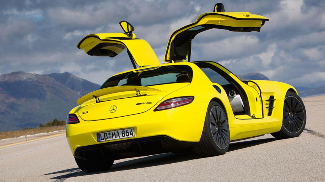 Mercedes SLS AMG E-Cell, Flügeltüren, Heckdiffusor