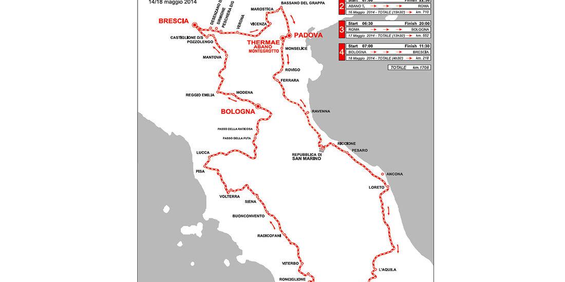 Mille Miglia 2014, Strecke