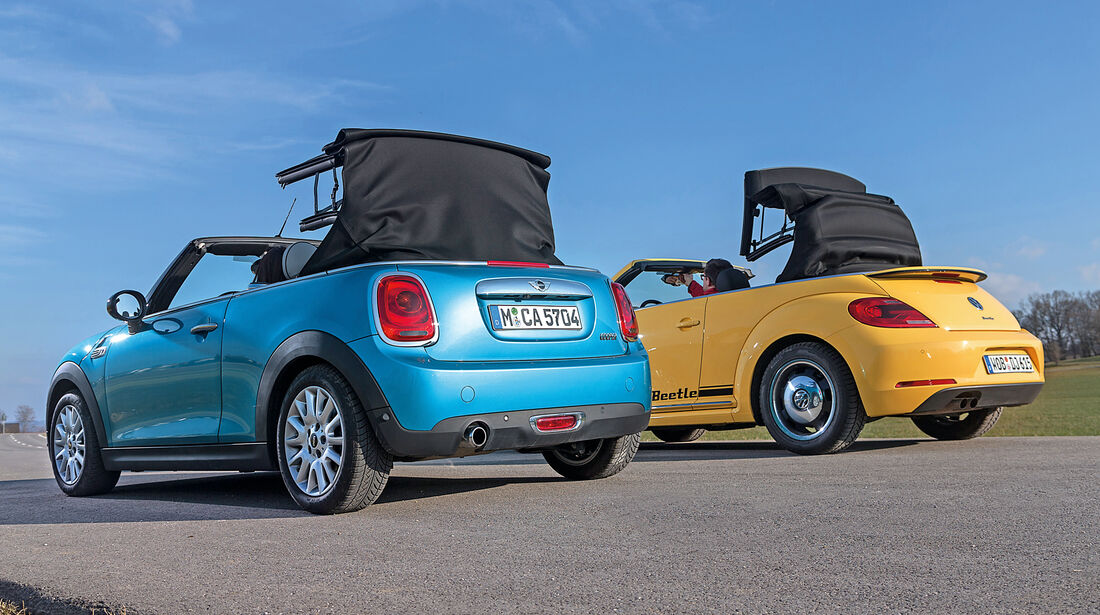 Mini Cooper Cabrio, VW Beetle Cabrio 1.4 TSI, Verdeck öffnet