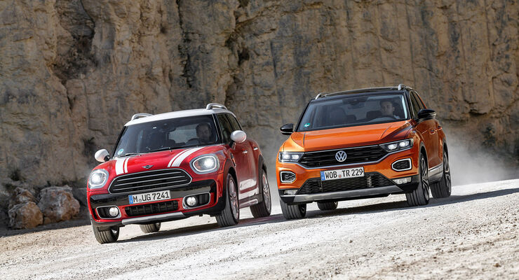 vw t roc 2 0 tdi und mini countryman cooper d im test. Black Bedroom Furniture Sets. Home Design Ideas