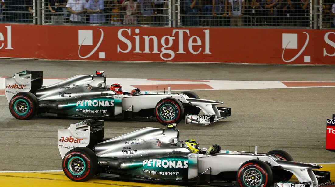 Nico Rosberg Michael Schumacher F1 Singapur 2012