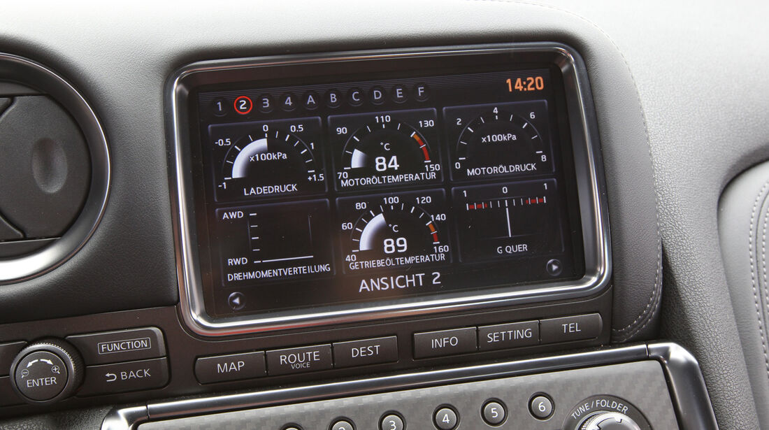 Nissan GT-R, Rundinstrumente, Anzeigen