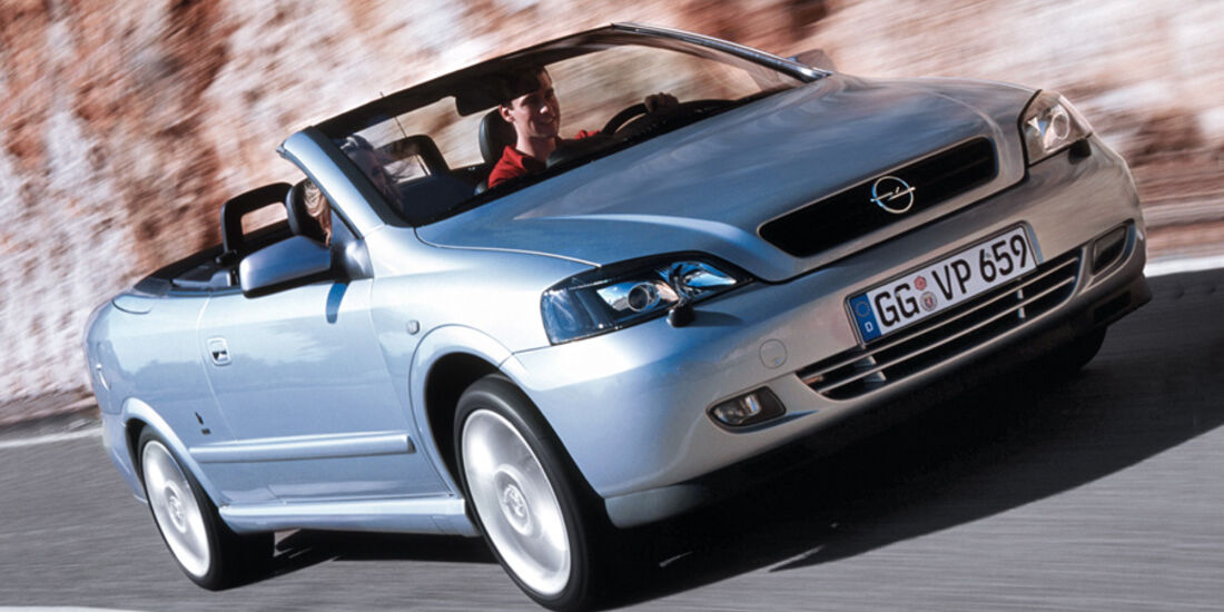 Opel Astra Cabrio 1.8, Frontansicht, silber