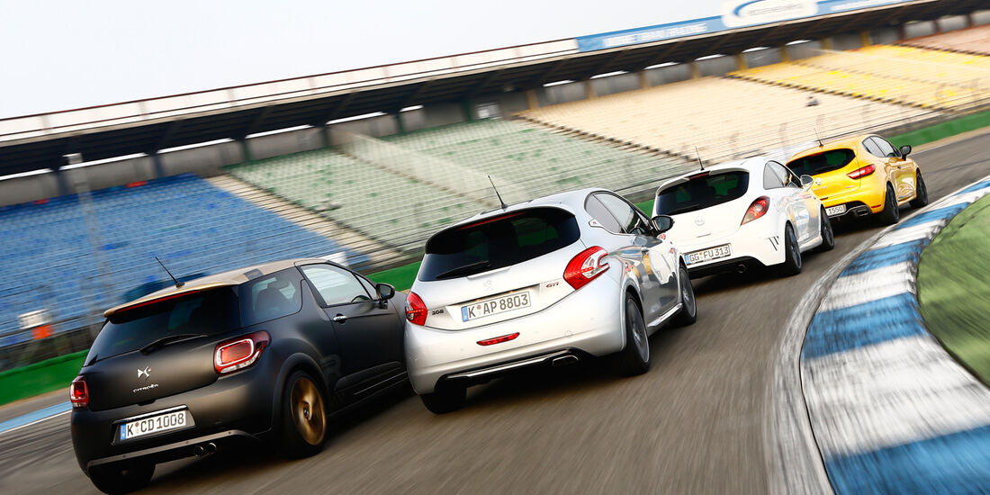 Opel Corsa OPC Nürburgring Edition, Renault Clio R.S., Peugeot 208 GTi, Citroën DS3 Racing Edition 2013