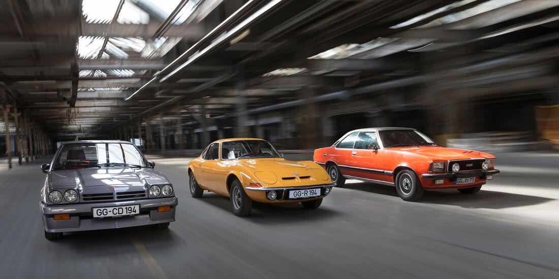 Opel GT 1900, Opel Manta GSi, Opel Commodore GS/E, Frontansicht