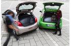 Peugeot 208 82 Vti, Fiat Punto 0,9 Twinair, Kofferraum