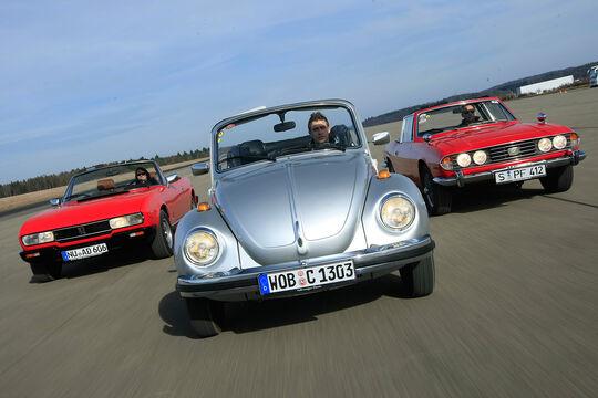 Peugeot 504 Cabriolet, Triumph Stag, VW 1303 Cabriolet Frontansicht