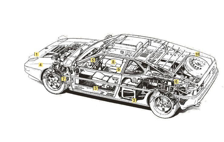 Phantomzeichnung - Schwachpunkte des BMW M1