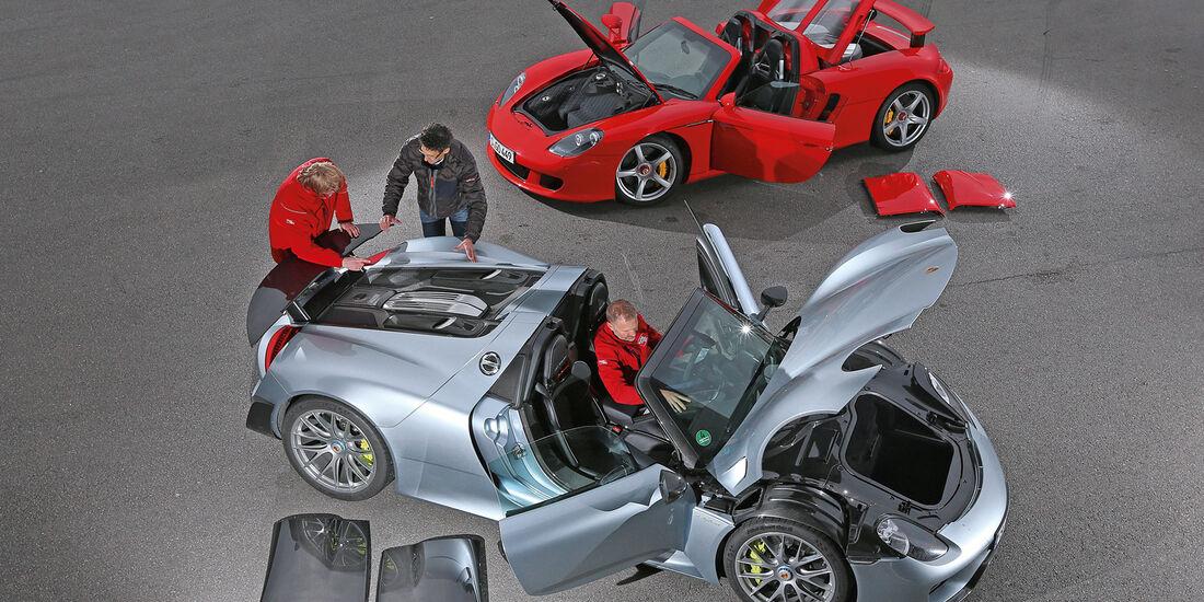 Porsche 918 Spyder, Porsche Carrera GT, Draufsicht