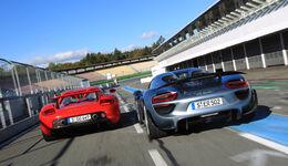 Porsche 918 Spyder, Porsche Carrera GT, Heckansicht