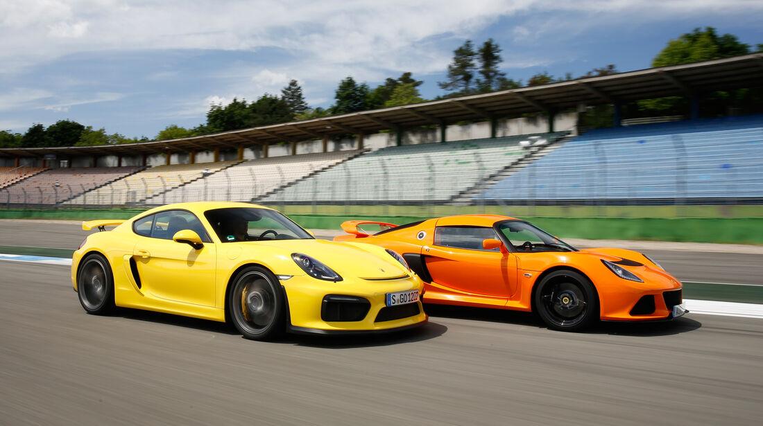 Porsche Cayman GT4, Lotus Exige S, Seitenansicht