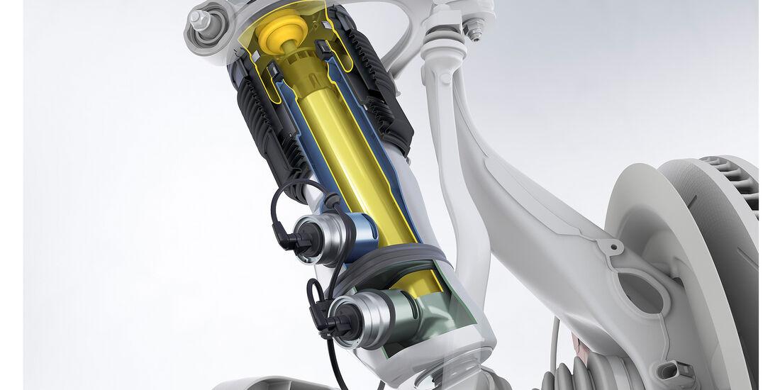 Porsche Panamera Turbo: Dreikammer-Luftfederbein der adaptiven Luftfederung