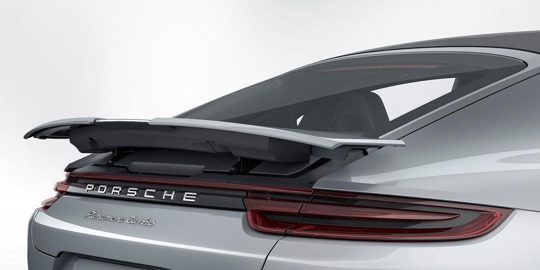 Porsche Panamera Turbo: adaptiver 4-Wege-Heckspoiler in der Performance-Stellung
