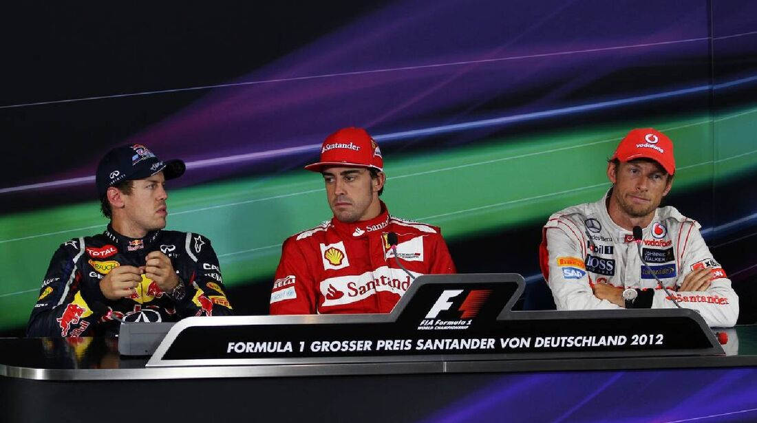 Pressekonferenz Sebastian Vettel Jenson Button Fernando Alonso - Formel 1 - GP Deutschland - 22. Juli 2012