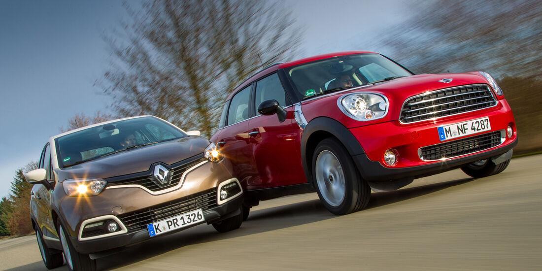 Renault Captur dCi 90, Mini One D Countryman, Frontansicht