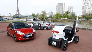 Renault Twizy, Peugeot RCZ, Citroen DS3, Eiffelturm