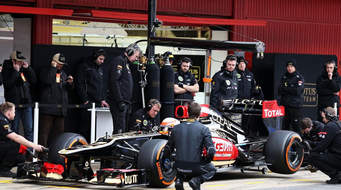 Romain Grosjean, Lotus, Formel 1-Test, Barcelona, 22. Februar 2013