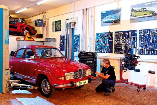 Saab 96 V4, Werkstatt