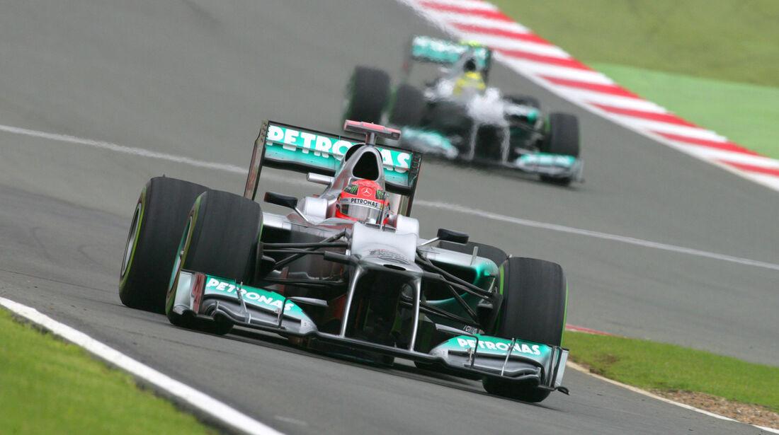 Schumacher Rosberg Mercedes GP England 2012