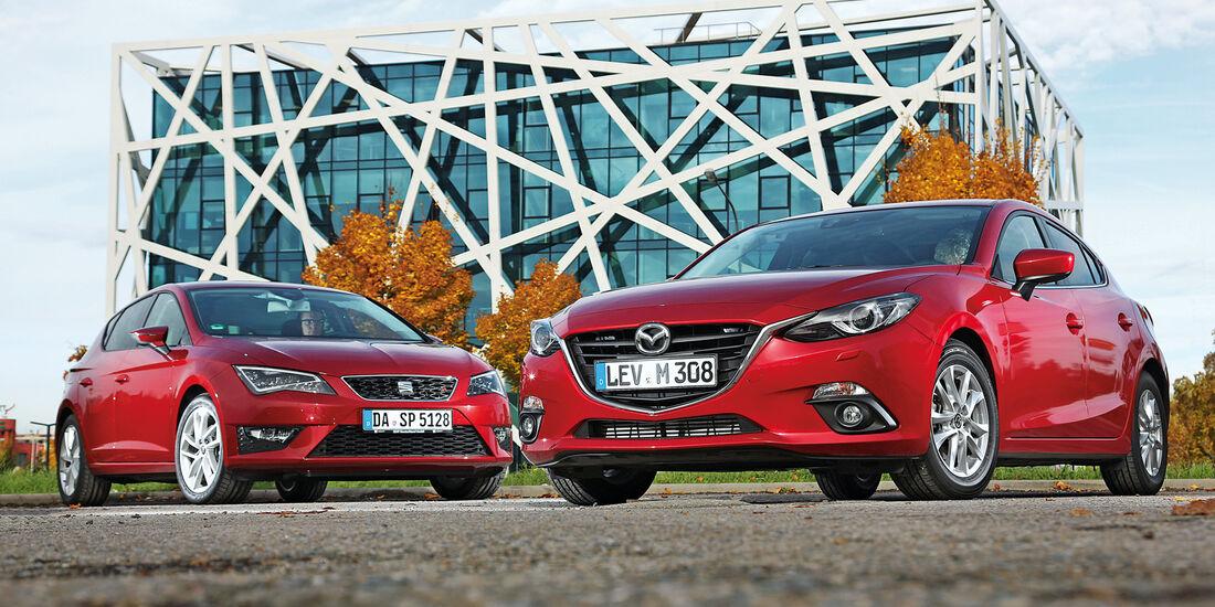 Seat Leon 2.0 TDI, Mazda 3 Skyaktiv D 150, Frontansicht