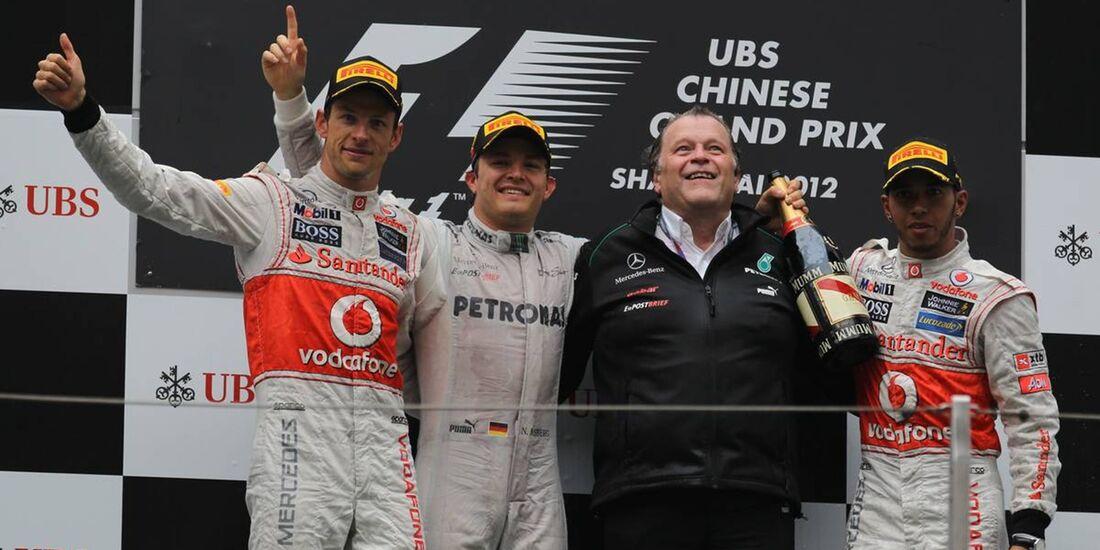 Siegerpodest  - Formel 1 - GP China - 15. April 2012