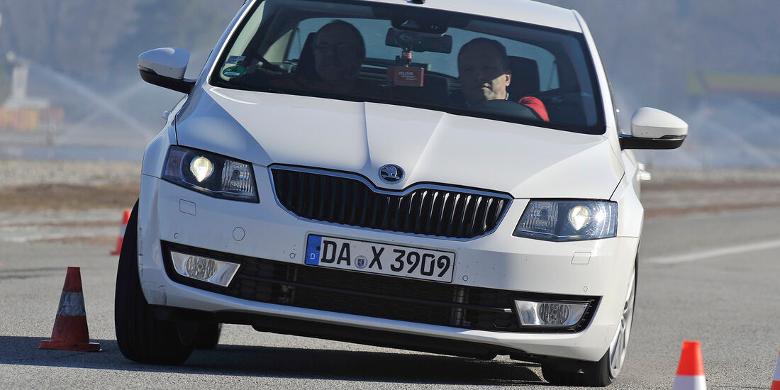 Skoda Octavia 2.0 TDI, Frontansicht, Slalom