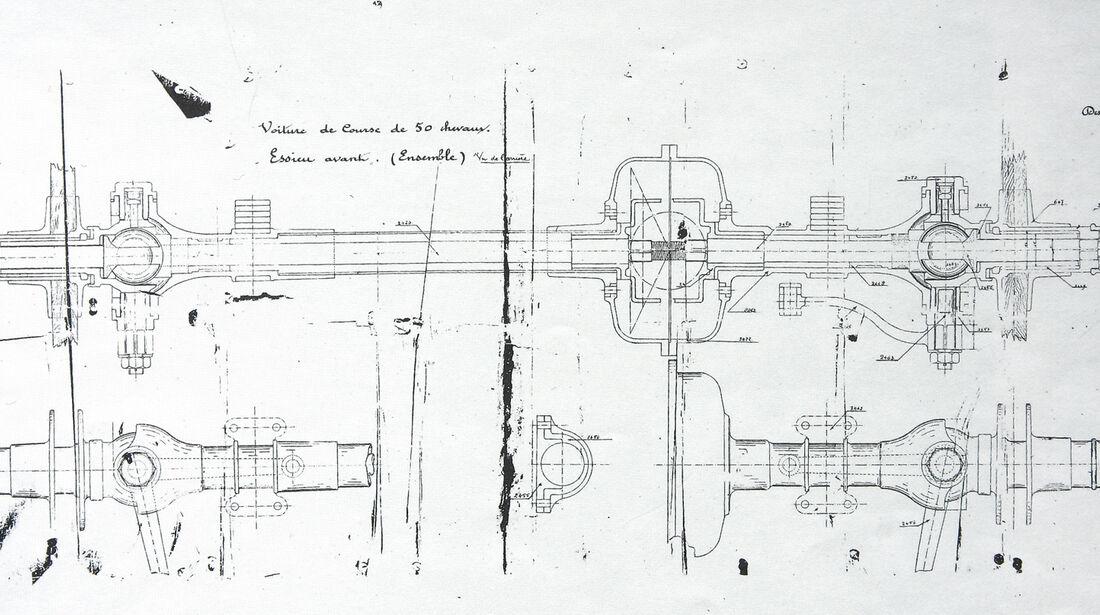 Spyker, Zeichnung, Vorderachse