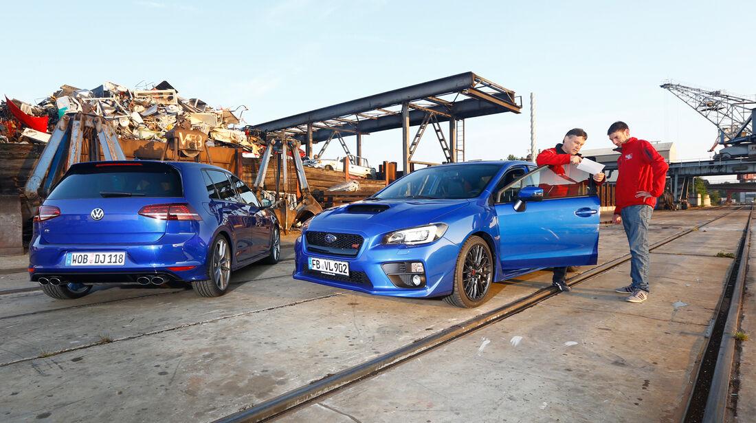 Subaru WRX STI, VW Golf, Impression, Hafen