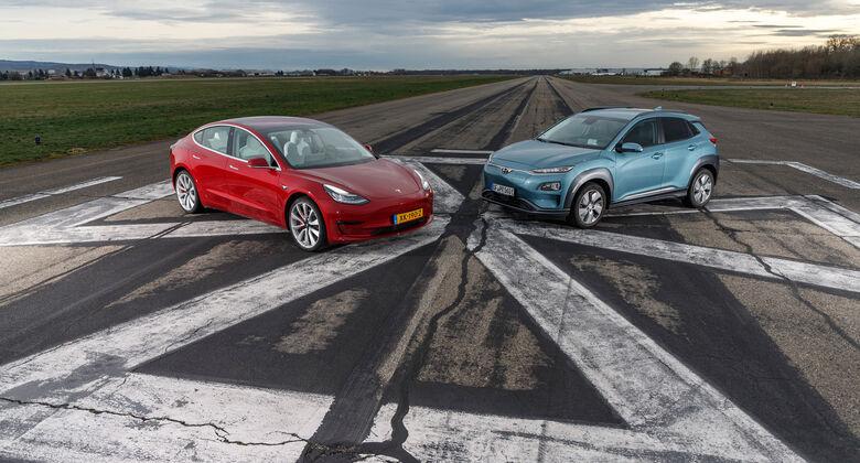 Tesla Model 3, Hyundai Kona