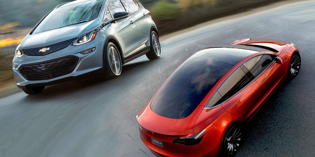 Tesla Model 3 und Chevy Bolt Collage