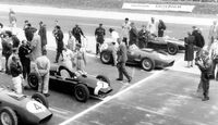 Tony Brooks - Ferrari Dino 246 - Stirling Moss Cooper T51 - Dan Gurney - Ferrari Dino 246 - Jack Brabham - Cooper T51 - Avus 1959