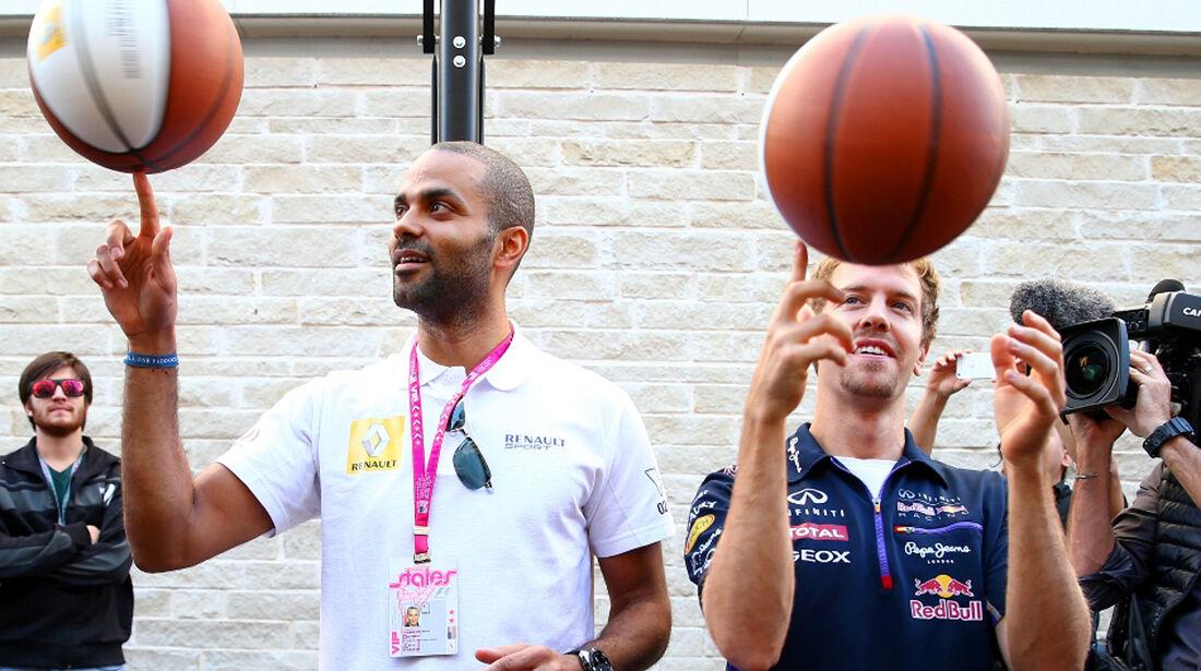 Tony Parker - Sebastian Vettel - Formel 1 - GP USA - 1. November 2014