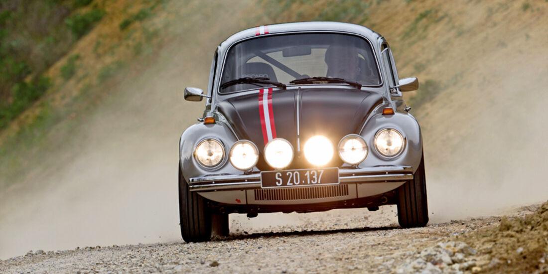 VW 1303 Rallye, Ralley, Renngeschehen, Frontansicht, Scheinwerfer