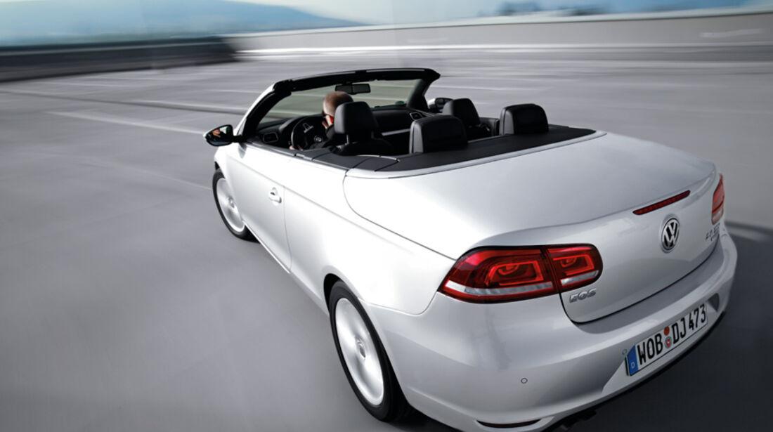 VW EOS 1.4 TSI, Rückansicht, schräg oben, Cabrio