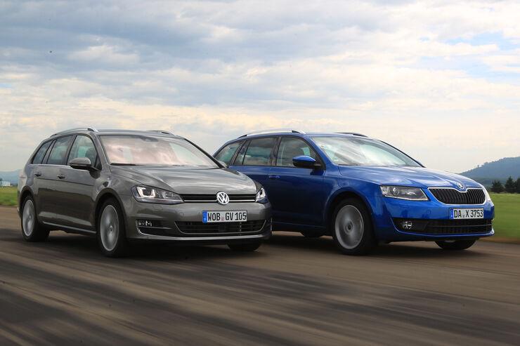VW Golf Variant 2.0 TDI, Skoda Octavia Combi 2.0 TDI, Frontansicht