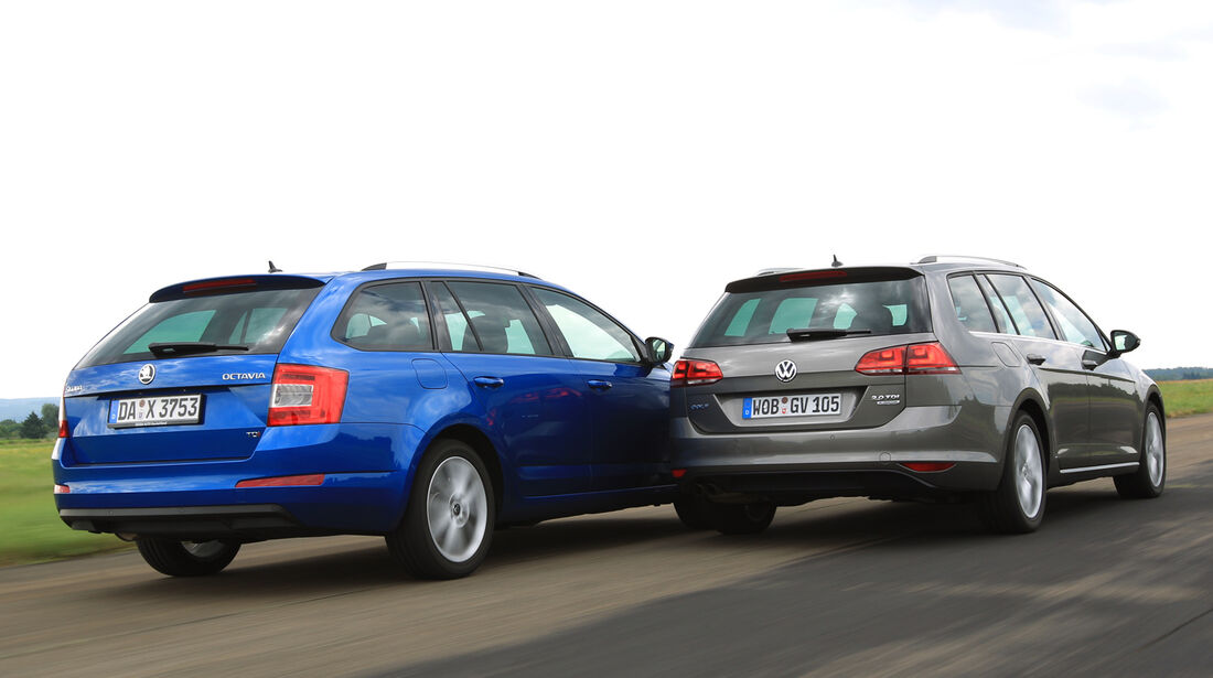 VW Golf Variant 2.0 TDI, Skoda Octavia Combi 2.0 TDI, Heckansicht