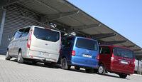 VW Multivan 2.0 TDI, Mercedes Viano 2.0 CDI, Ford Tourneo Custom, Heckansicht