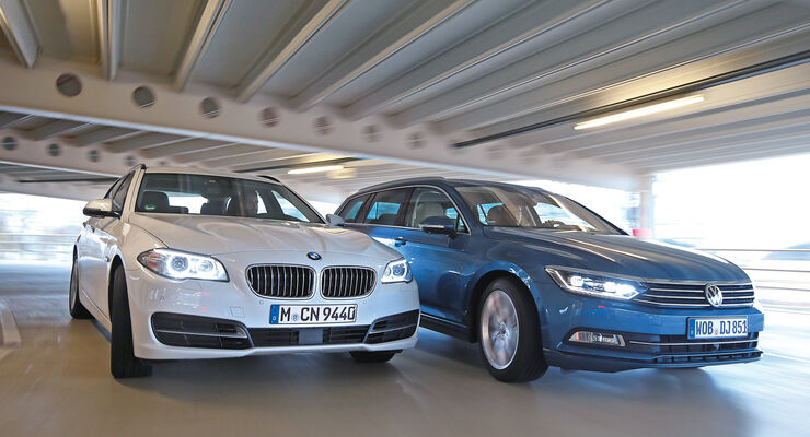 VW Passat Variant 2.0 TDI, BMW 518d Touring, Frontansicht