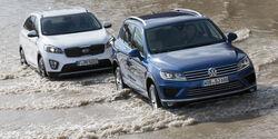 VW Touareg V6 TDI BMT SGR, Kia Sorento 2.2 CRDi, Frontansicht