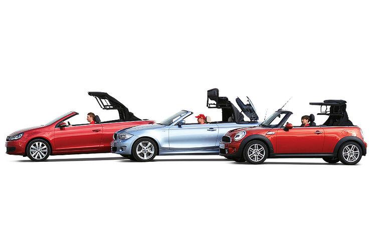 bmw 1er mini cooper s vw golf kompakte cabrios im. Black Bedroom Furniture Sets. Home Design Ideas