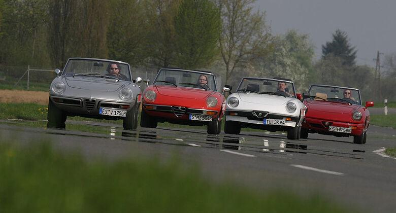 Vier Generationen Alfa Spider