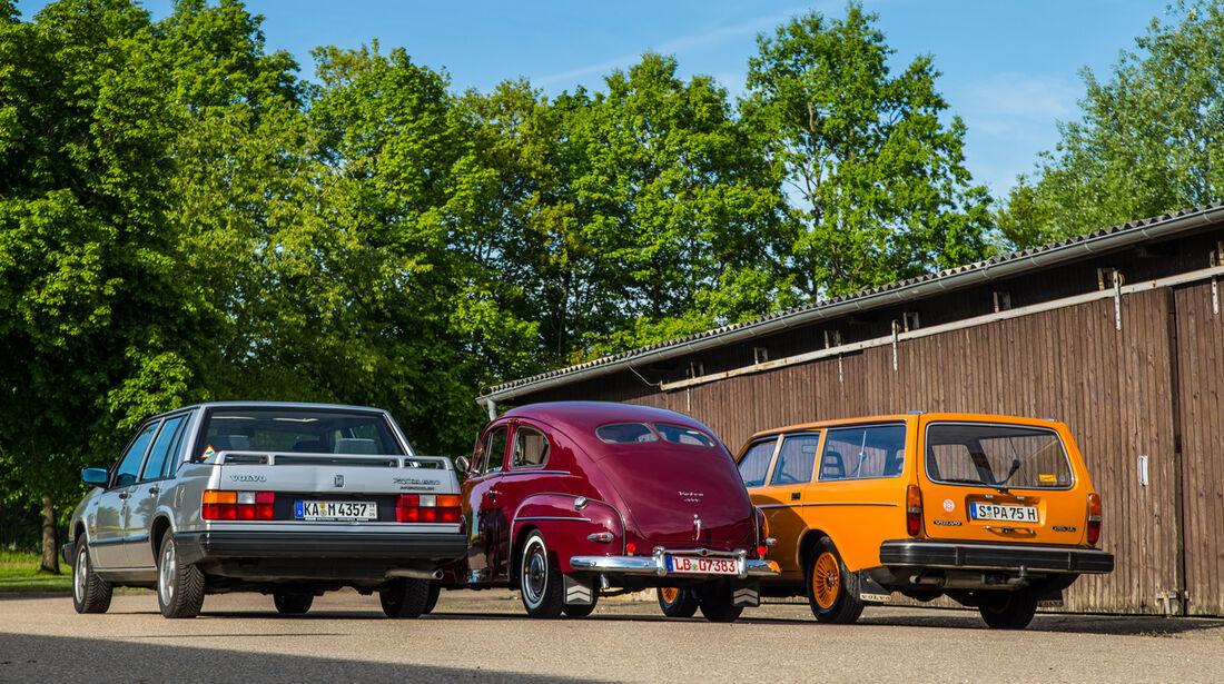 Volvo PV 444, Volvo 240, Volvo 740, Heckansicht