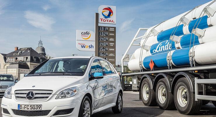 Wasserstofftankstellen Daimler Linde