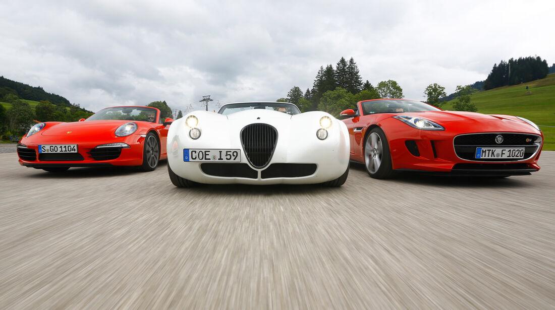 Wiesmann Roadster MF4-S, Porsche 911 Carrera S Cabriolet, Jaguar F-Type V8 S